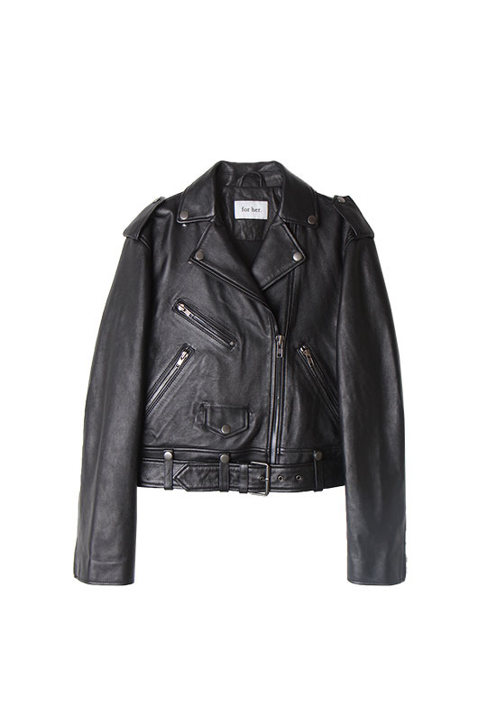 for her. LAMBSKIN BIKER JACKET (BLACK)