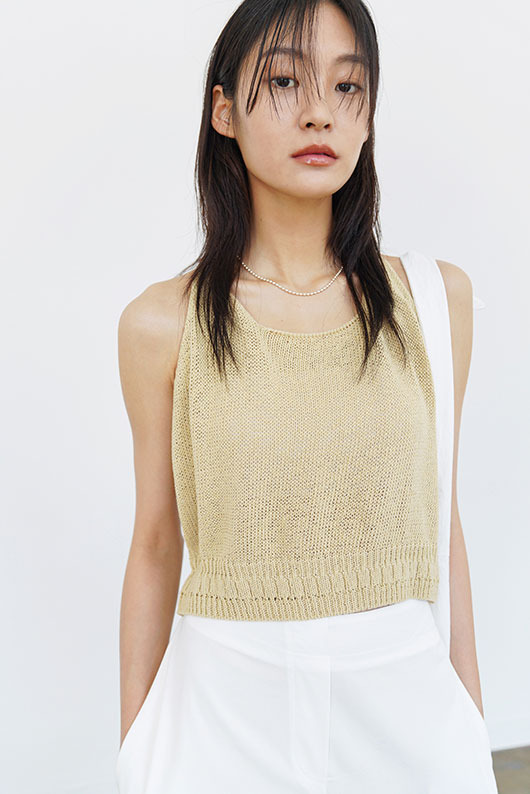 ROPE COLOR SLEEVELESS KNIT