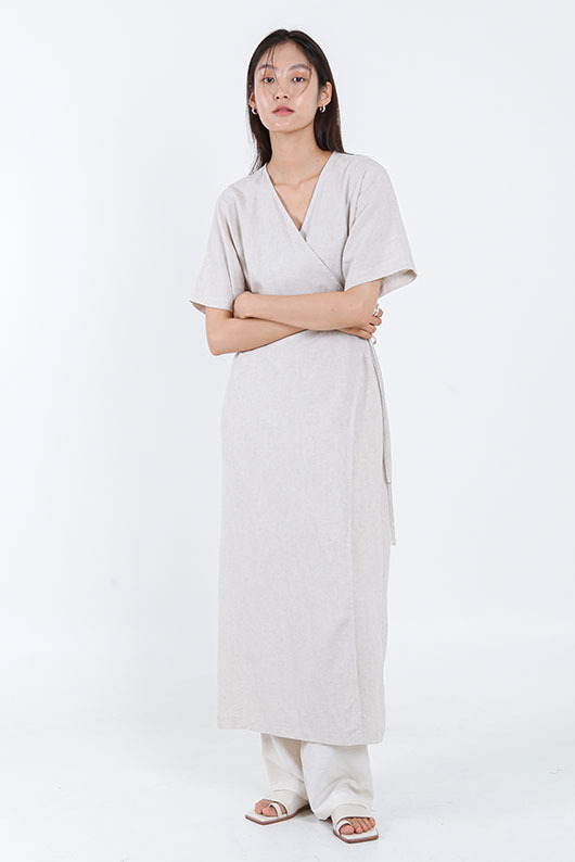 LINEN WRAP ROBE DRESS