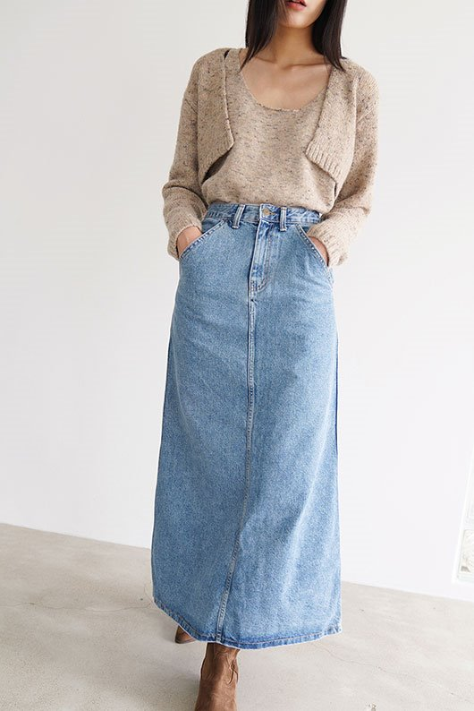 A LINE LONG DENIM SKIRT (2 COLOR)