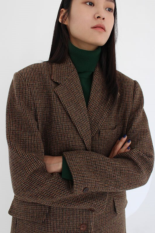 CLASSIC WOOL JACKET (CHECK BROWN)